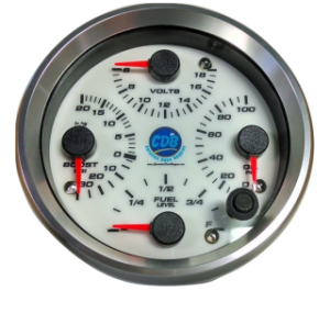 "CDB 4"" Quad Gauge - Oil Pressure, Oil Temp, Volts, Fuel Level"