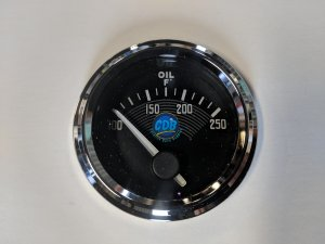 "CDB 2-1/16"" Old Style VW, Oil Temp Gauge 100-250F (90° Sweep)"